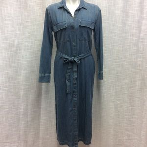 Gap Maxi Indigo Denim Shirt Dress Size XS Petite